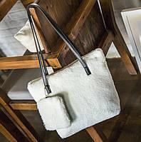 Милая меховая \ плюшевая сумка с мини клатчем