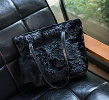 Мила хутряна \ плюшева сумка з міні клатчем, фото 3