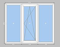3-створчатое окно Openteck  с двухкамерным стеклопакетом,окно на три части с одной створкой Опентек