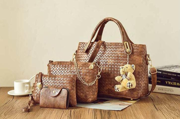 Подарочный набор женских сумок 4в1 с брелком мишка