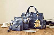 Подарочный набор женских сумок 4в1 с брелком мишка, фото 3
