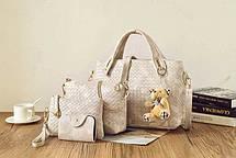 Подарочный набор женских сумок 4в1 с брелком мишка, фото 2