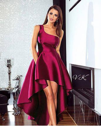 Асимметричное платье из атласа на одно плечо, фото 2