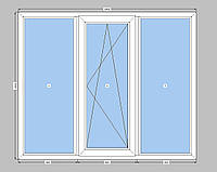 3-створчатое окно Openteck  с однокамерным стеклопакетом,окно на три части с одной створкой Опентек