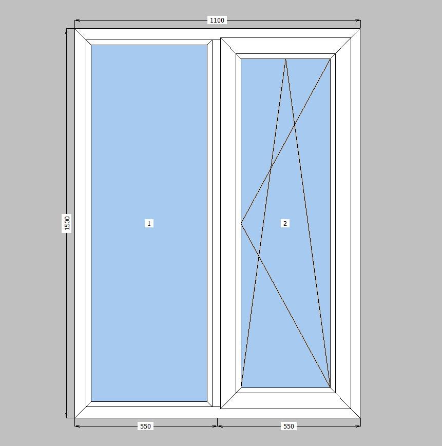 Двухстворчатое окно Openteck ,кухонное окно Опентек,с двухкамерным стеклопакетом,на две части - ФОП Опанасенко О.Ф. в Киеве