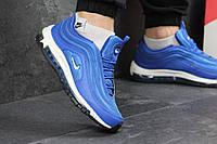 Кроссовки мужские Nike Air Max 97 текстильные повседневные кросовки в стиле найк, голубые с белой подошвой
