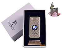 """USB зажигалка в подарочной упаковке """"BMW"""" (Двухсторонняя спираль накаливания) №4794A-3"""