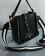 Женская модная сумка с черно-белой ручкой эко-кожа черная