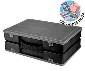 Двойной органайзер для инструментов 355х250х110 мм с крышкой (черный)