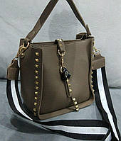 Женская модная сумка с черно-белой ручкой эко-кожа коричневая