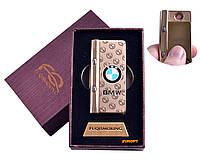 """USB зажигалка в подарочной упаковке с фонариком + фонарик с ультрафиолетом """"BMW"""" (Спираль накаливания) №4828-3"""