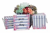 """Коробки для цветов 3шт.  """"Полоска"""" голубой"""