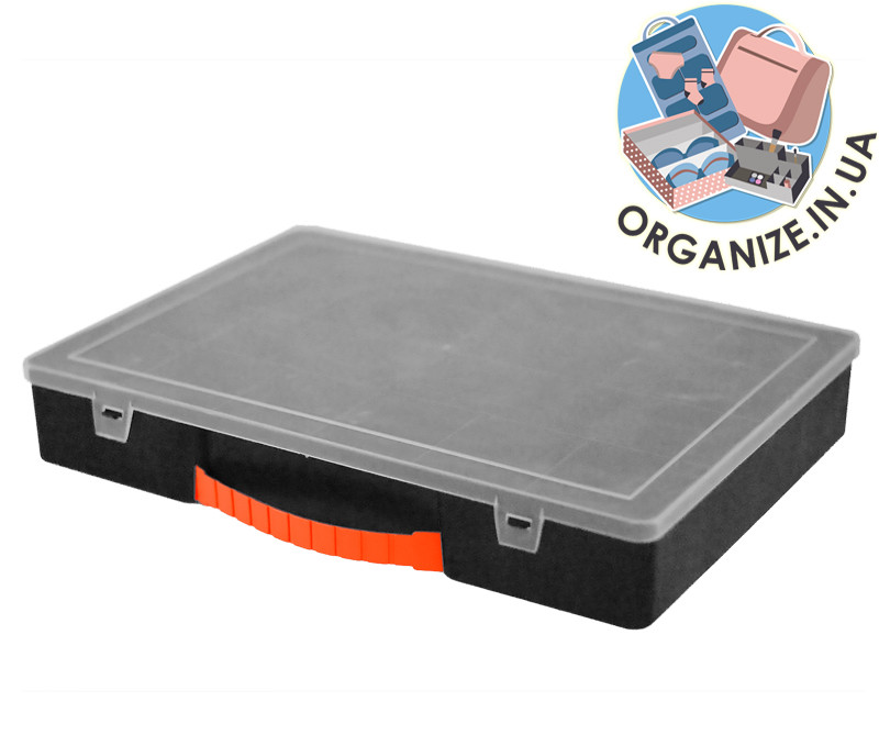 Органайзер для инструментов и мелочей 304х206х50 мм с крышкой (черный)