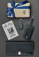 """Набор кожаных аксессуаров для путешественника """"Неаполь"""" (тревел-кейс, бирка для багажа, брелок, открытка)"""