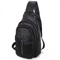Сумка кожаная мужская барсетка городской рюкзак на плечо косуха s8 кожа черная Польша 31х18х10см