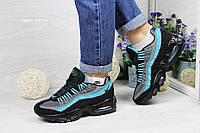 Подростковые кроссовки  Nike 95 ( найк 95)  замш + сетка, черные с голубым