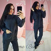 Женский вязаный комплект свитер с карманами и штаны
