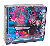 """Мебель с Куклой Монстер Хай  (Monster High) """"Школа монстер хай"""", шарнирная, трюмо, стул, аксессуары, MH8910G"""
