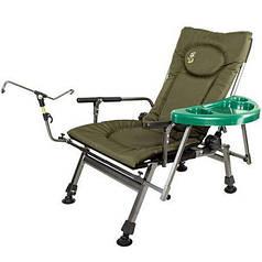 Кресло карповое с подставкой для удочки и боковым столиком M-Elektrostatyk F5R ST/P