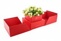"""Коробка для цветов """"Сюрприз"""" красная"""