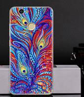Чехол силиконовый бампер для Huawei Nova с рисунком перья