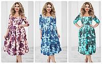 Женское платье в цветочный принт большого размера 50-54