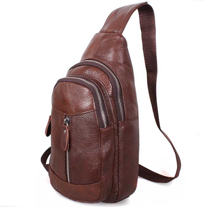 e4589e3a79b0 Кожаная сумка мужская через плечо рюкзак городской косуха барсетка BON318-2  коричневая