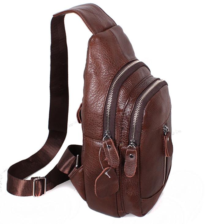 b8bb5264861a Кожаная сумка мужская через плечо рюкзак городской косуха барсетка BON318-2  коричневая, ...