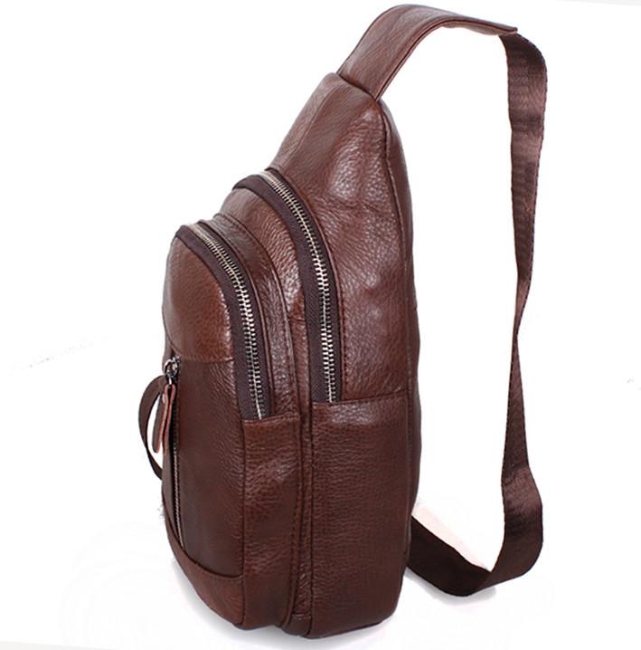 acf2717fb16e ... Кожаная сумка мужская через плечо рюкзак городской косуха барсетка  BON318-2 коричневая, ...