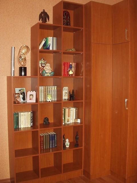 Полки книжные, шкаф угловой.