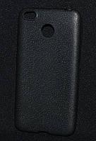Чехол силиконовый Xiaomi Redmi 4x, черный Leather(Ксиоми редми 4х,чехол-накладка, бампер,защита для телефона)