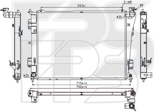 Радиатор охлаждения двигателя Hyundai Sonata YF (10-14) 2.0, 2.4 - механика (Nissens)