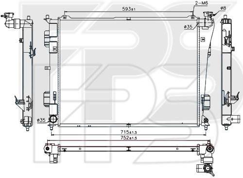 Радиатор охлаждения двигателя Hyundai Sonata YF (10-14) 2.0, 2.4 - механика (Nissens) , фото 2