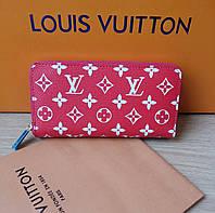 Кошелек Louis Vuitton красный, монограмм, на молнии