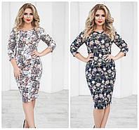Платье женское цветочный принт большого размера 50-54