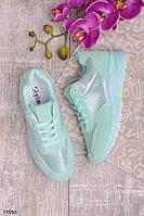 Женские кроссовки мятного цвета ментол эко-замша+эко-кожа с перфорацией