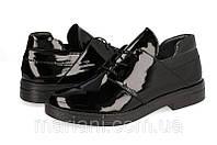 Женские туфли на шнурках из черной лаковой кожи