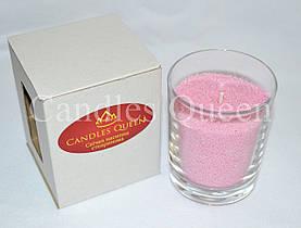 Свеча насыпная в стакане розовая