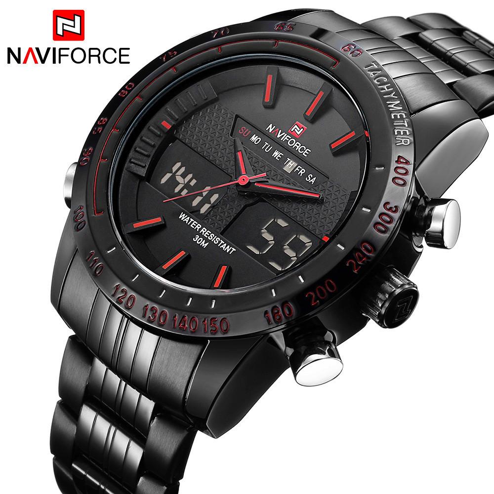 Мужские наручные кварцевые электронные часы Naviforce NF9024-BBR