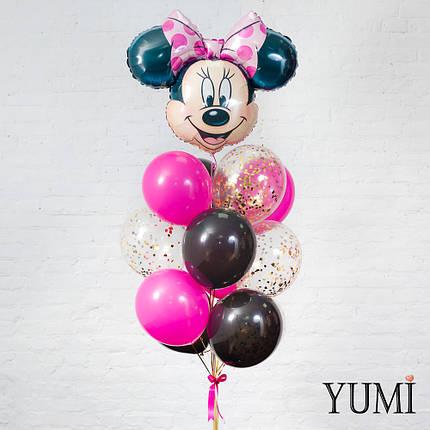 Связка из шара Минни, 4 чёрных, 4 фуксия и 4 шаров с золотым конфетти, фото 2