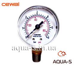 """Манометр для отопления CEWAL 6 бар G1/4"""" (D 50 мм.) вертикальный (Италия)"""