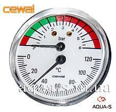 Термоманометр для отопления CEWAL 6 бар 120 °C (D 63 мм) фронтальный (Италия)