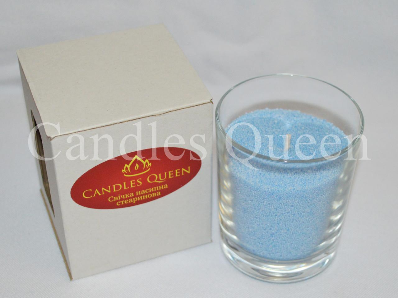 Свеча насыпная в стакане голубая