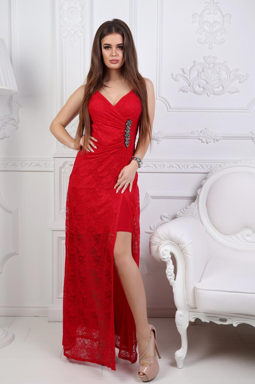 """Вечернее гипюровое макси-платье на бретельках """"Жанна"""" с разрезом и декольте (3 цвета)"""