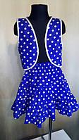 Летний костюм на девочку 8-10лет из ситца, синий в горошек