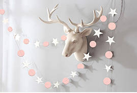 Гирлянда звезды + круг 4 метра, нежно  - розовая с белым