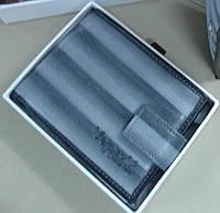 Мужской кошелек из натуральной кожи, серый