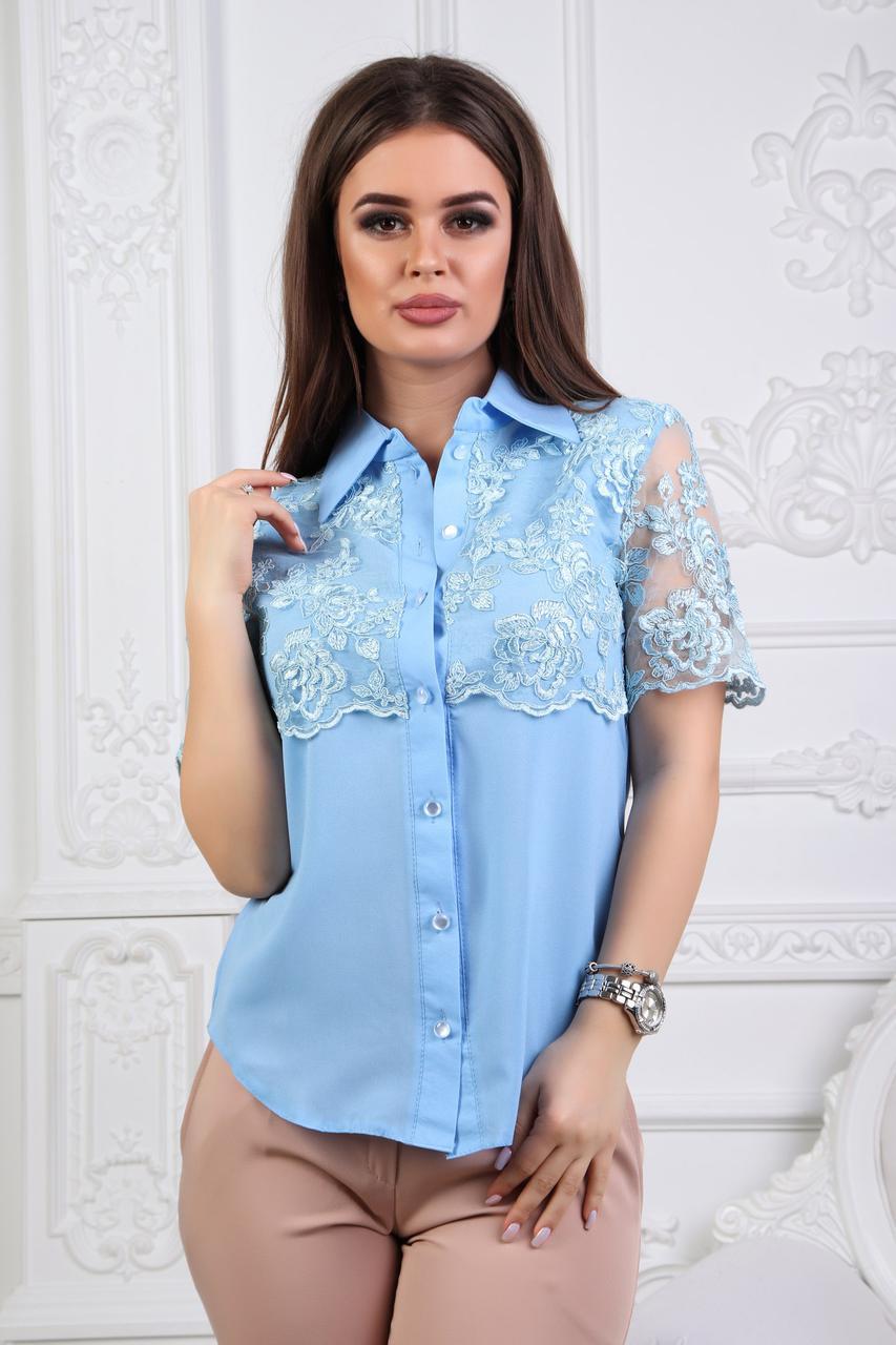 """Нарядная летняя женская блуза """"Faina"""" с кружевом и коротким рукавом (2 цвета)"""