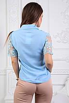 """Нарядная летняя женская блуза """"Faina"""" с кружевом и коротким рукавом (2 цвета), фото 2"""