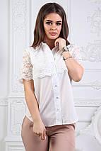 """Нарядная летняя женская блуза """"Faina"""" с кружевом и коротким рукавом (2 цвета), фото 3"""